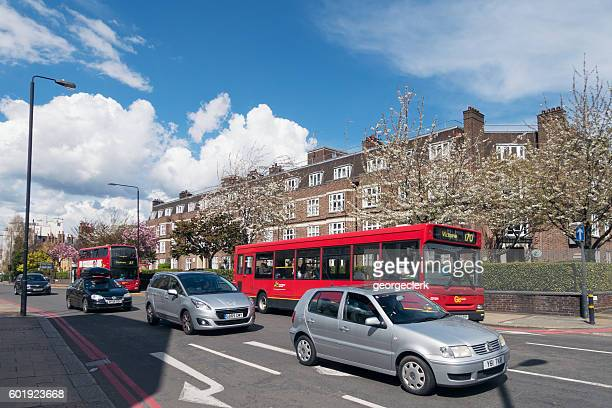 London - light daytime traffic in Wandsworth