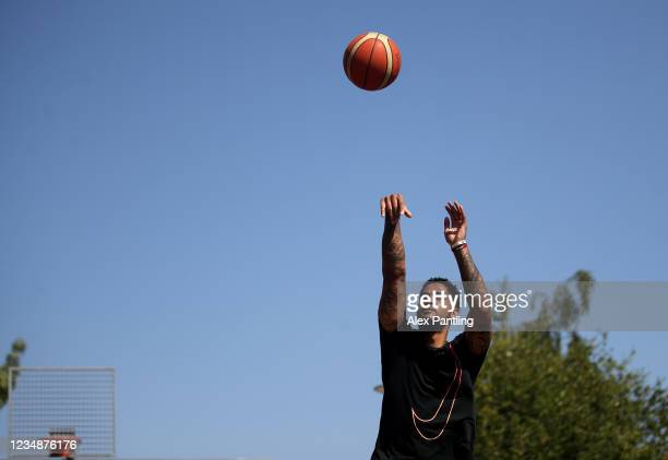 London Lions Basketball Player Ed Lucas Trains at The Heart of Bow during the coronavirus pandemic on May 30 2020 in London England