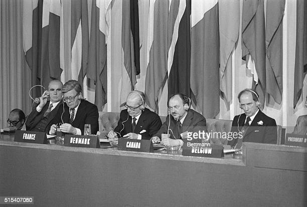 London: Listening to speeches at formal opening of NATO Council meeting in the Banqueting House, Whitehall, are from left, Greek Premier Constantine...