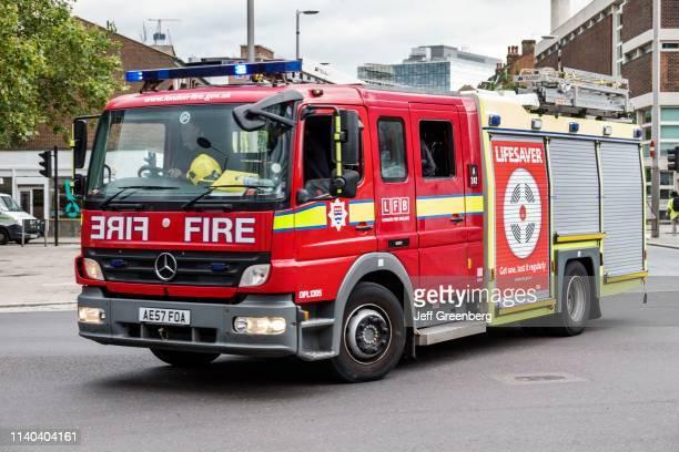London, London, South Bank, LFB fire brigade truck.