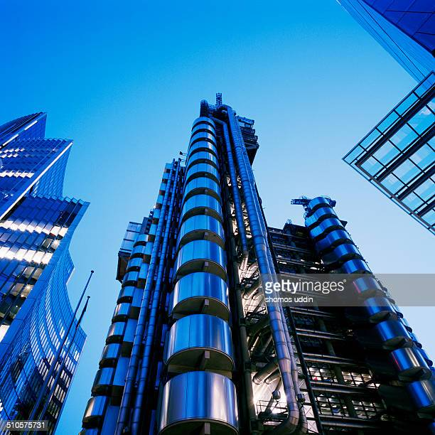 London, low angle view of iconic Lloyds Building.