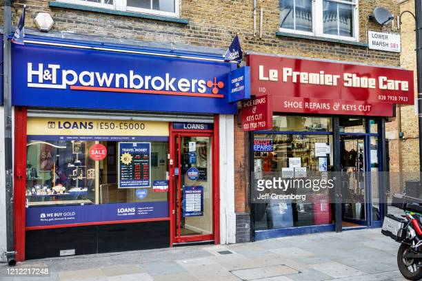 London, Lower Marsh, neighborhood pawnbrokers and shoe repair.