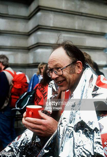 London Marathon founder Chris Brasher pictured after completing the first London Marathon in London, England on March the 29th of 1981.