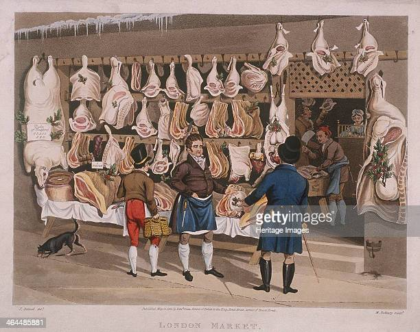 'London Market' 1822 showing an interior and exterior view of a butchers shop Outside the shop a butcher is displaying his meat which has been...