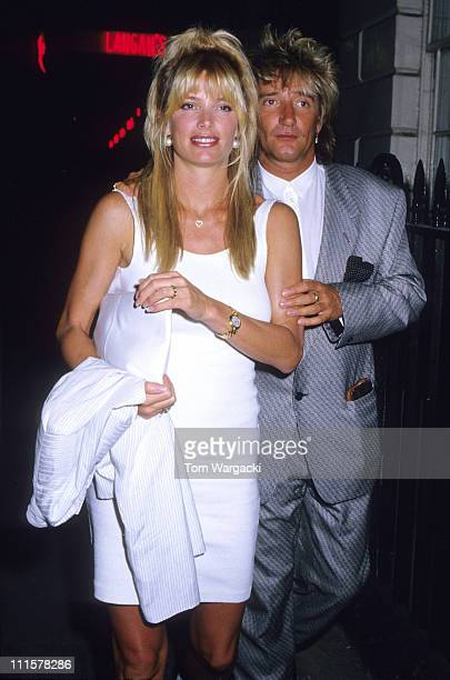 London May 13th 1989 Rod Stewart and girlfriend Kelly Emberg at Langan's Brasserie