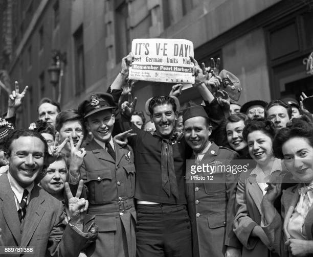 London May 1945 Crowd celebrates VE day marking the German surrender in World war two