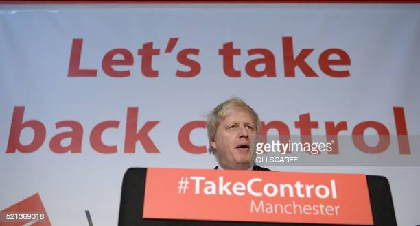 """London Mayor and Conservative MP for Uxbridge and South Ruislip, Boris Johnson addresses campaigners during a rally for the """"Vote Leave"""" campaign,..."""