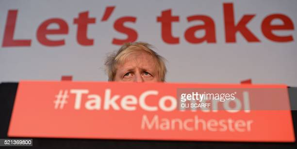 London Mayor and Conservative MP for Uxbridge and South Ruislip Boris Johnson addresses campaigners during a rally for the Vote Leave campaign the...