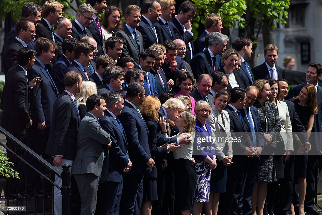 London Mayor and MP for Uxbridge and South Ruislip, Boris Johnson, is greeeted ahead of a picture with British Prime Minister David Cameron and his new Conservative Party MPs in Palace Yard on May 11, 2015 in London, England. Prime Minister David Cameron continues to announce his new cabinet with many ministers keeping their old positions.