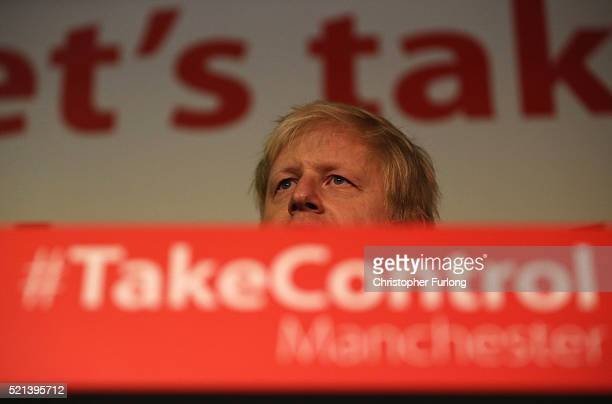 London Mayor Boris Johnson addresses supporters during a rally for the 'Vote Leave' campaign on April 15 2016 in Manchester England Boris Johnson is...