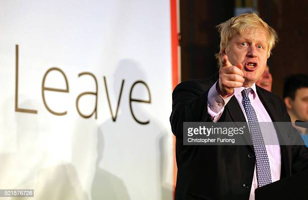 London Mayor Boris Johnson addresses supporters during a rally for the 'Vote Leave' campaign on April 15, 2016 in Manchester, England. Boris Johnson...