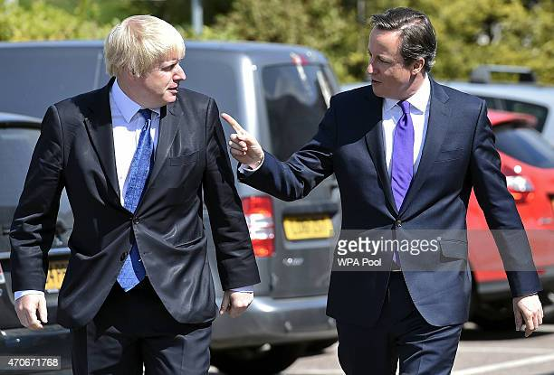 London Mayor Boris Johnson and Prime Minister David Cameron arrive at the Advantage children's daycare nursery on April 22 2015 in Surbiton England...