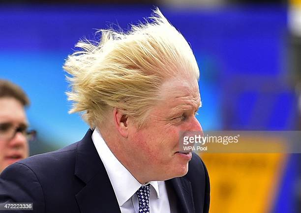 London mayor Boris Johnson arrives to speak at a Conservative Party election rally in Hendon on May 5 2015 in Twickenham London Britain will go to...