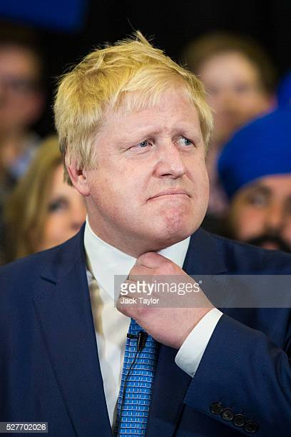 London Mayor Boris Johnson attends a mayoral campaign rally for Zac Goldsmith at Grey Court School in Richmond on May 3 2016 in London England The...