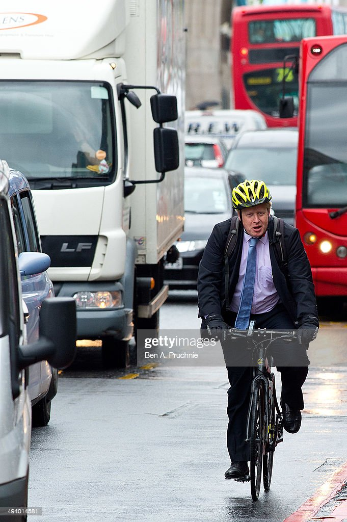 London mayor Boris Johnson attends a photocall to promote cycle safety on May 27, 2014 in London, England. The mayor is under increasing pressure improve safety for cyclists in the capital following the deaths of five cyclists this year.