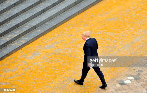 London Mayor Boris Johnson attends the ceremonial funeral of British former prime minister Margaret Thatcher in St Paul's Cathedral in central London...