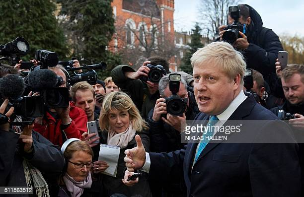 London Mayor Boris Johnson delivers a statement to the media regarding his position on the forthcoming EU referendum outside his home in London on...