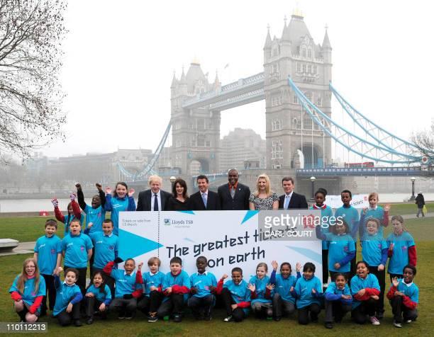London Mayor Boris Johnson former Romanian gymnast Nadia Comaneci London 2012 chairman Lord Coe US track and field Olympic gold medallist Carl Lewis...
