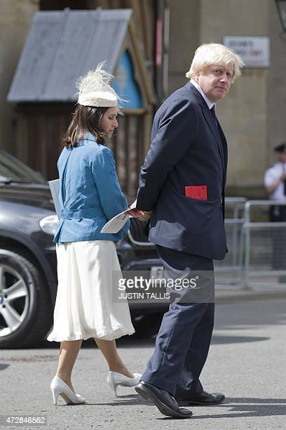 London Mayor Boris Johnson leaves with his wife Marina Wheeler after attending a service of national thanksgiving to mark the 70th anniversary of VE...
