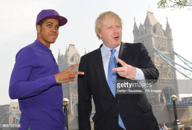 London Mayor Boris Johnson meets award winning rapper Chipmunk at City Hall in London where he was speaking at Access All Areas a music seminar for...