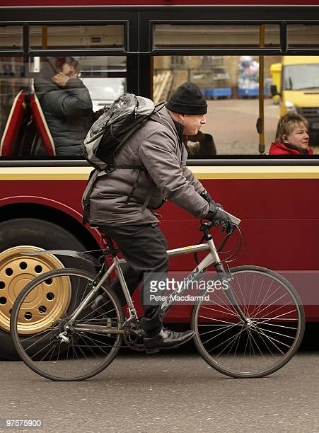 London Mayor Boris Johnson rides his bicycle from London Bridge Station on March 9 2010 in London England The Mayor is launching this year's...