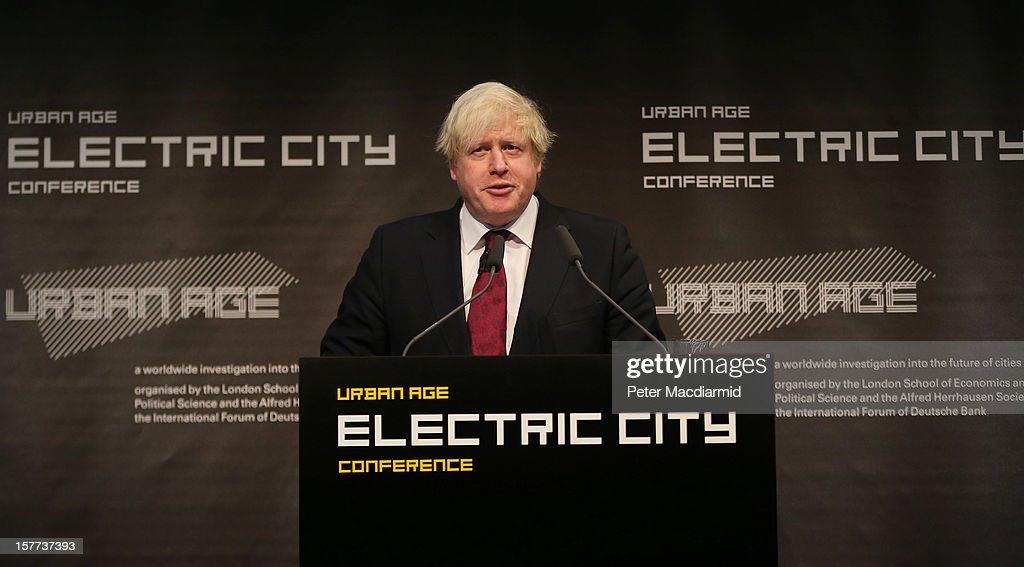 London Mayor Boris Johnson speaks at the The Electric City Conference on December 6, 2012 in London, England. The conference is looking at how the combined forces of technological innovation and the global environment crisis are affecting urban society.