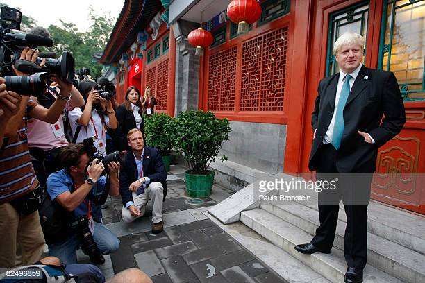 London Mayor Boris Johnson speaks to the press at the London House on August 21, 2008 in Beijing, China. Johnson is in Beijing to receive the Olympic...