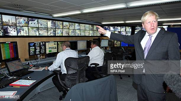 London Mayor Boris Johnson visits a police specialist operations room for the 2012 London Olympic Games on July 24 2012 in London England The London...
