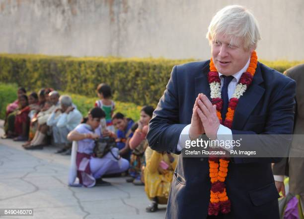 London Mayor Boris Johnson visits the Akshardham Temple in New Delhi a sister temple to the Neasden Temple in North West London on the first of a...
