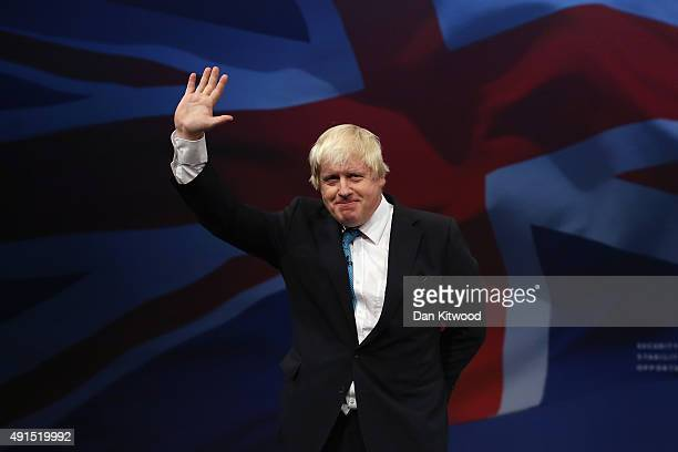 London mayor Boris Johnson waves after speaking to conference on the third day of the Conservative party conference on October 6, 2015 in Manchester,...