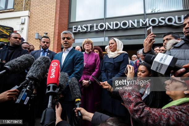 London Mayor Sadiq Khan and faith leaders attend a vigil at the East London Mosque for the victims of the New Zealand mosque attacks on March 15,...