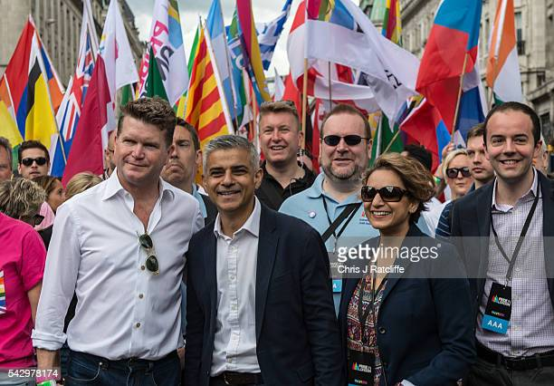 London Mayor Sadiq Khan and his wife Saadiya Khan lead the Pride march as the LGBT community celebrates Pride in London on June 25 2016 in London...