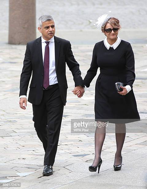 London Mayor Sadiq Khan and wife Saadiya Khan arrive for a service of thanksgiving for Queen Elizabeth II's 90th birthday at St Paul's cathedral on...