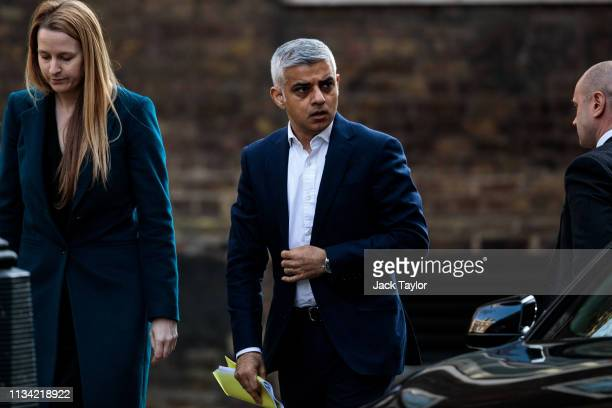 London Mayor Sadiq Khan arrives at Number 10 Downing Street on April 1 2019 in London England British Prime Minister Theresa May hosts summit on...