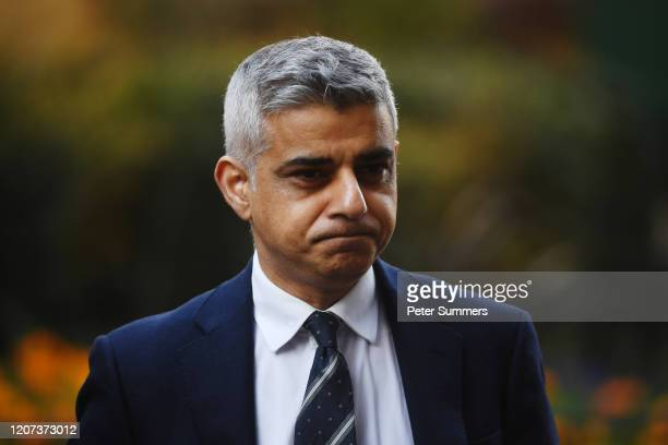 London Mayor Sadiq Khan arrives in Downing Street ahead of Government briefing on March 16, 2020 in London, England.