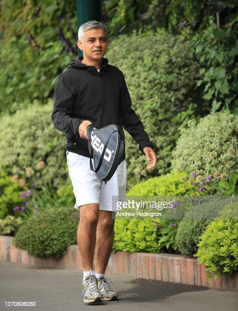 London Mayor Sadiq Khan arrives to play tennis with key workers at the All England Lawn Tennis Club at Wimbledon on September 04, 2020 in London,...