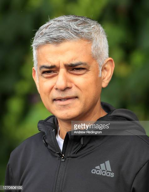 London Mayor Sadiq Khan arrives to play tennis with key workers at the All England Lawn Tennis Club at Wimbledon on September 04 2020 in London...
