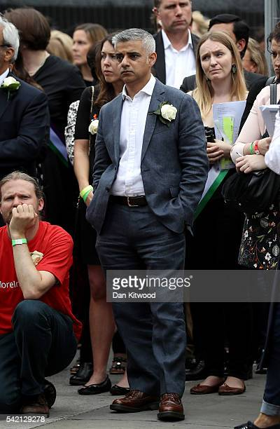 London Mayor Sadiq Khan attends a memorial event for murdered Labour MP Jo Cox at Trafalger Square on June 22 2016 in London United Kingdom On what...
