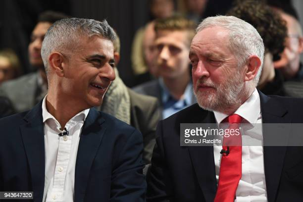 London Mayor Sadiq Khan chats to Labour Leader Jeremy Corbyn before the Labour Party's Local Election Campaign on April 9, 2018 in London, England....