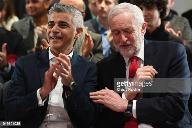 London Mayor Sadiq Khan chats to Labour Leader Jeremy Corbyn before the Labour Party's Local Election Campaign on April 9 2018 in London England...