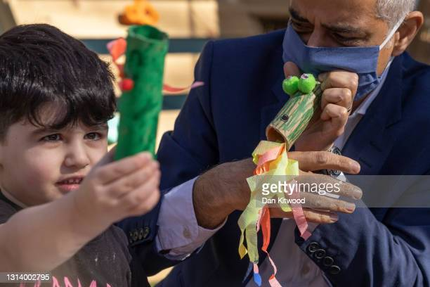 London Mayor Sadiq Khan interacts with a group of children while visiting Harrow Road Nursery on April 23, 2021 in London, England. Mr Kahn is...