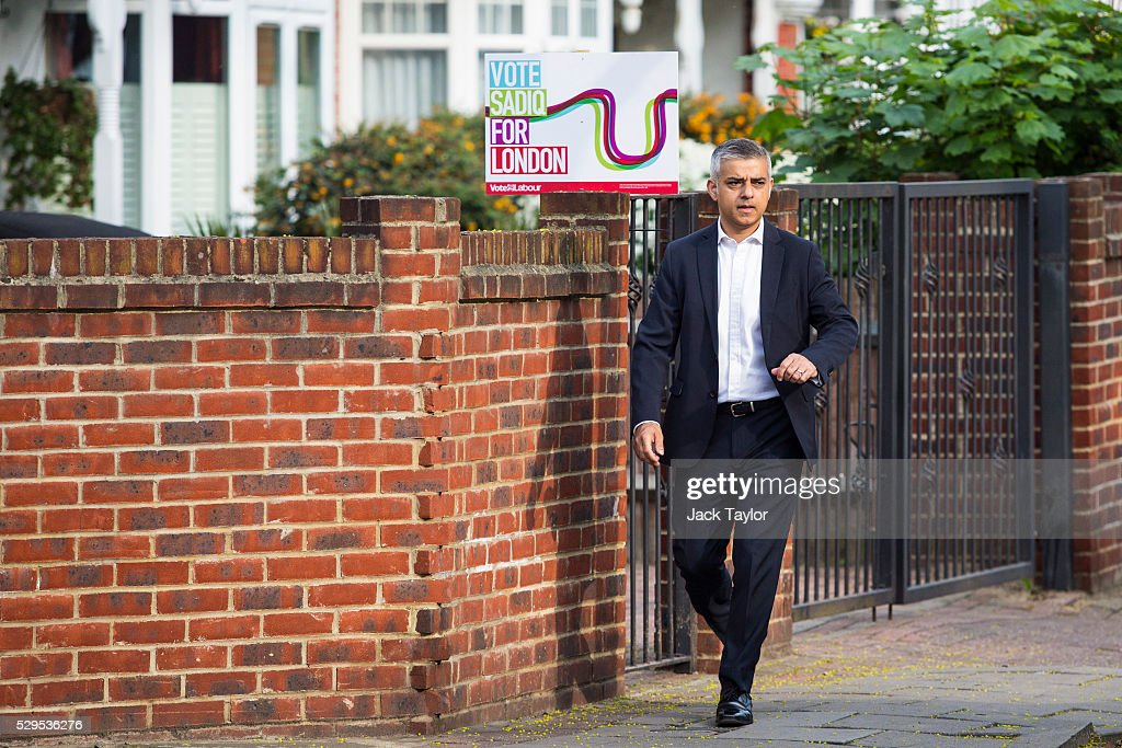 London Mayor Sadiq Khan leaves his home in Tooting on May 9, 2016 in London, England. Mr Khan begins his first day at his City Hall office after winning the race to become London's Mayor with 56.8% of the vote.