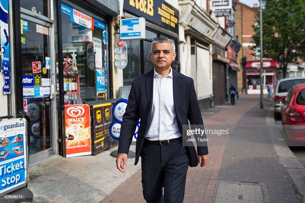 London Mayor Sadiq Khan makes his way to work after leaving his home in Tooting on May 9, 2016 in London, England. Mr Khan begins his first day at his City Hall office after winning the race to become London's Mayor with 56.8% of the vote.