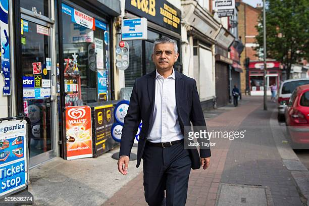 London Mayor Sadiq Khan makes his way to work after leaving his home in Tooting on May 9 2016 in London England Mr Khan begins his first day at his...