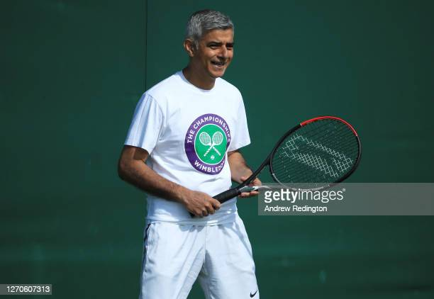 London Mayor Sadiq Khan plays tennis with key workers at the All England Lawn Tennis Club at Wimbledon on September 04, 2020 in London, England. The...