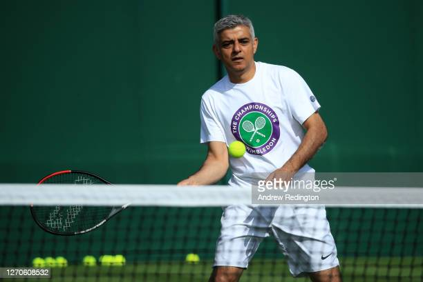 London Mayor Sadiq Khan plays tennis with key workers at the All England Lawn Tennis Club at Wimbledon on September 04 2020 in London England The...