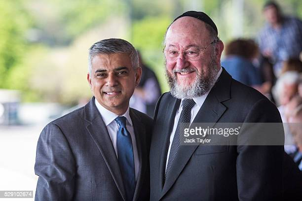 London Mayor Sadiq Khan poses with Chief Rabbi Ephraim Mirvis as they attend Yom HaShoah the Jewish Community's Holocaust Remembrance Day at the...
