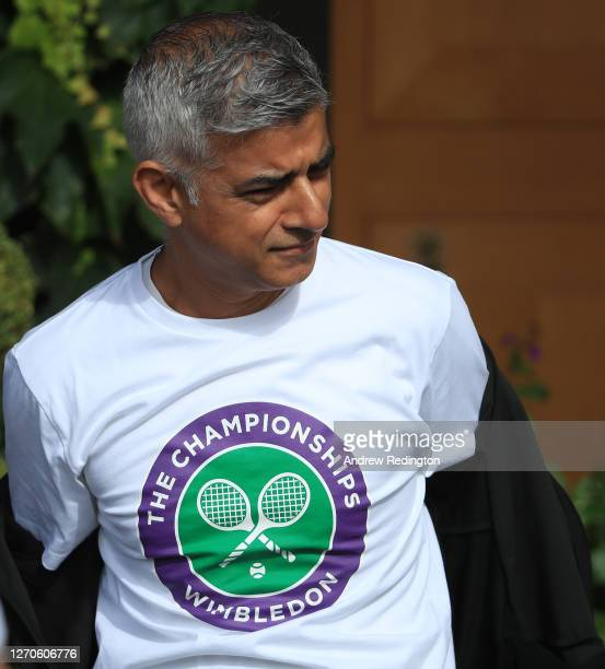 London Mayor Sadiq Khan prepares to speak to key workers at the All England Lawn Tennis Club at Wimbledon on September 04 2020 in London England The...