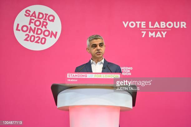 London Mayor Sadiq Khan speaks during an event to launch his re-election campaign in London on March 3, 2020. - London is set to vote in a mayoral...