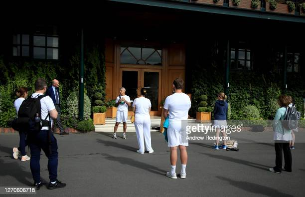 London Mayor Sadiq Khan speaks to key workers at the All England Lawn Tennis Club at Wimbledon on September 04 2020 in London England The mayor's...
